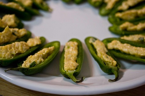 cheese, lime and scallions in halved jalapenos