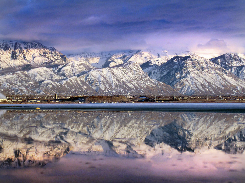 Geneva Steel area reflected in utah lake winter
