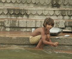 Varanasi, India (katherine.neumann) Tags: portrait india water river children site bath asia religion profile steps holy varanasi ritual bathing hindu hinduism pilgrimage pilgrim ganga ganges pradesh ghats uttar southasia