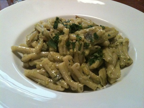 Casarecce with artichokes, leeks, and pistachio pesto