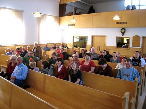 People gathering for worship
