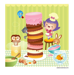 Baking the cake (Jerrod Maruyama) Tags: food cute bird animals baking squirrel goldfish kawaii owl vector childrensbooks characterdesign jerrodmaruyama