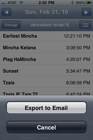 Email Zmanim - iPhone Siddur 4.3
