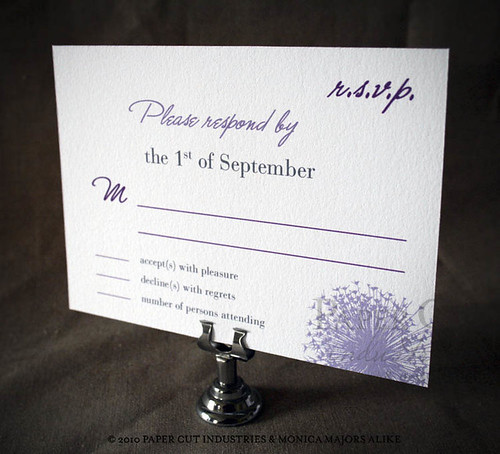 Purple Reign Wedding Suite: RSVP Postcard