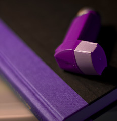 Bedside Buddy (michaeljosh) Tags: book purple violet puff depthoffield allergies asthma inhaler nikkor50mmf14d seretide project365 diagonalline salbutamol nikond90 yahoophilippines purplebook michaeljosh boybehindthelens bedsidebuddy asthmamedicine salmeterolfluticasone thetrumpcard yahoopurplefriday