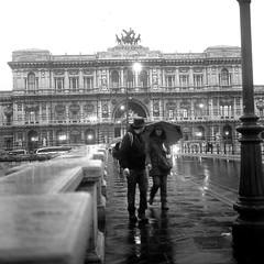 Rollei in the rain 1 (Rodolfo_Felici) Tags: italy white black roma rollei rolleiflex river italia ponte 400 tiber tevere rodinal pioggia bianco ilford nero rodolfo ombrello planar fp5 felici