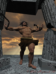 Bringing down da house (Mike Heywood) Tags: old man temple 3d power destruction render character victory chain hero bible warrior strong column strength samson powerful biblical chained enemies shackled shackle philistine adversity testament godray manacle manacled