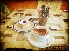 Coffee and Cake at the Vinery (Barbiejay56) Tags: coffee cake sweet barbie textures cappuccino florabella barbleopold