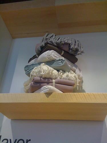 West Elm blanket display