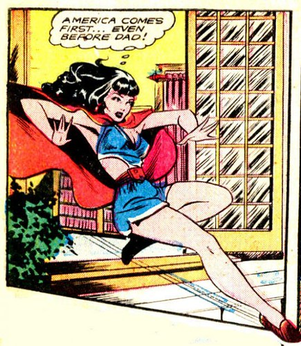 Cartoon of a girl dressed as superman or superwoman saying America comes first