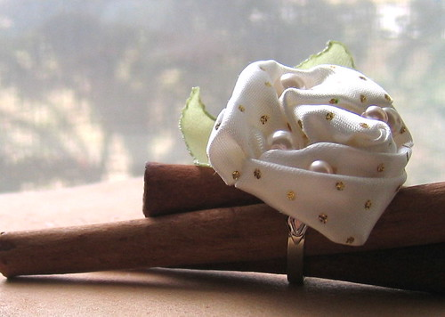 Fabric Rose Flower Ring, Ivory and Pearls