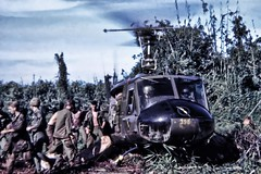 the huey has landed (Marvin Bredel) Tags: army war military slide bamboo vietnam huey helicopter jungle scanned soldiers usarmy uh1 1stcav 1stcavalrydivision marvin908 airmoblie marvinbredel