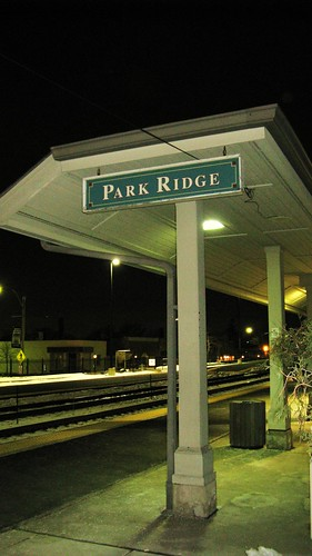 Night time at the Park Ridge Metra commuter rail station. Park Ridge Illinois. February 2010.