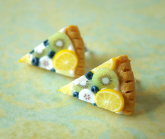 Miniature Food - Breezy Blue Green Fruit Tart Slice (PetitPlat - Stephanie Kilgast) Tags: blue green cake fruit pie post polymerclay fimo pastry earrings minifood tart studs fakefood miniaturefood fauxfood petitplat