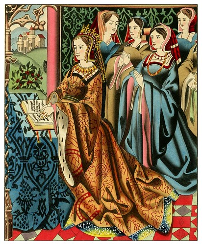 020-La reina Margaret de Enrique VI y su corte mitad siglo XV-Dresses and decorations of the Middle Ages 1843- Henry Shaw