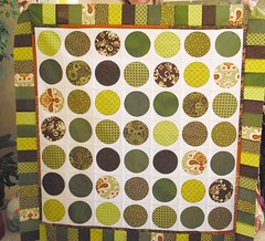 Circles for Molly (WIP) (stephanielallgood) Tags: brown green circle quilt circlequilt