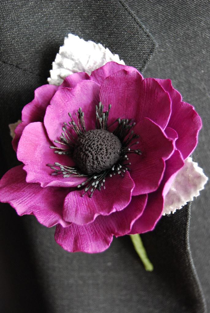 Anemone Clay Flower Boutonniere