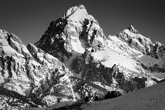 Grand Teton in Black and White (Free Roaming Photography) Tags: trees winter blackandwhite usa mountain snow mountains cold west monochrome print landscape nationalpark butte scenic western northamerica kelly wyoming teton tetons grandteton grandtetonnationalpark blacktailbutte