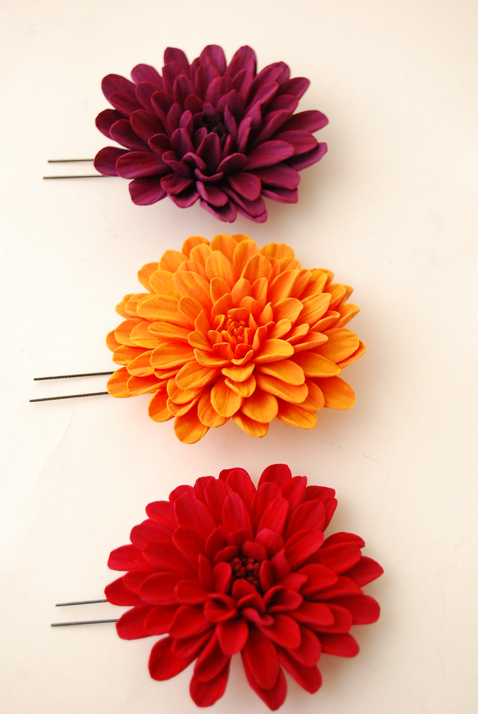 Dahlia Clay Flower Hair Clip