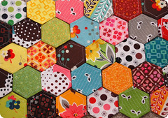 Flea Market Fancy Hexes (joomoolynn) Tags: english paper market fancy hexagon schmidt flea fmf piecing hexes denyse