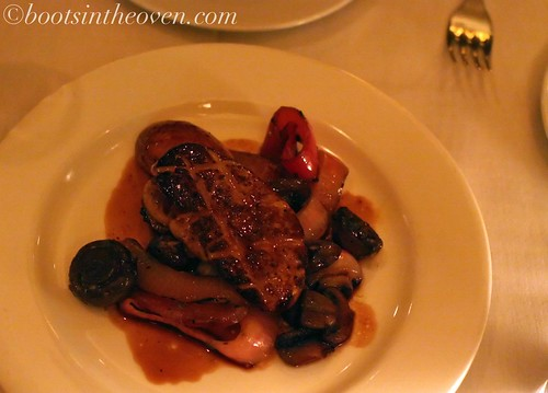 seared foie gras with grilled red onions, criminis, fingerlings, and port reduction $22