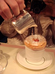 Grand Marnier soufflé with chopped fresh orange in a Grand Marnier sauce