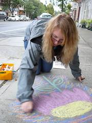 para la Tierra beauty for the bellbirds sidewalk chalk peace flower