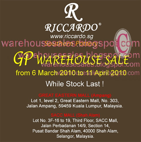 6 Mar - 11 Apr: Riccardo GP Warehouse Sale