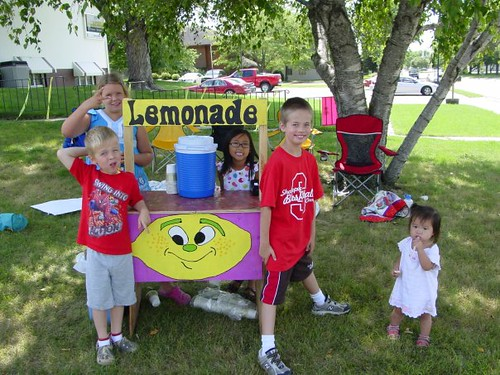 Lemonade Sales on the Vivid Image Front Lawn