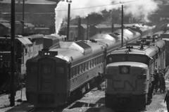 Scan11281ccx (citatus) Tags: cn rail railroad railway toronto canada roundhouse shops bw 1970 minolta srt 102 locomotive 4016 6775