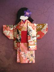 Japanese Chiyogami Paper Doll - Hitomi (umeorigami) Tags: japan japanese origami doll handmade craft geisha yukata kimono folded paperdoll papercraft washi chiyogami origamidoll warabeningyo