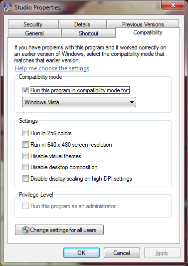 Windows 7 compatibility settings