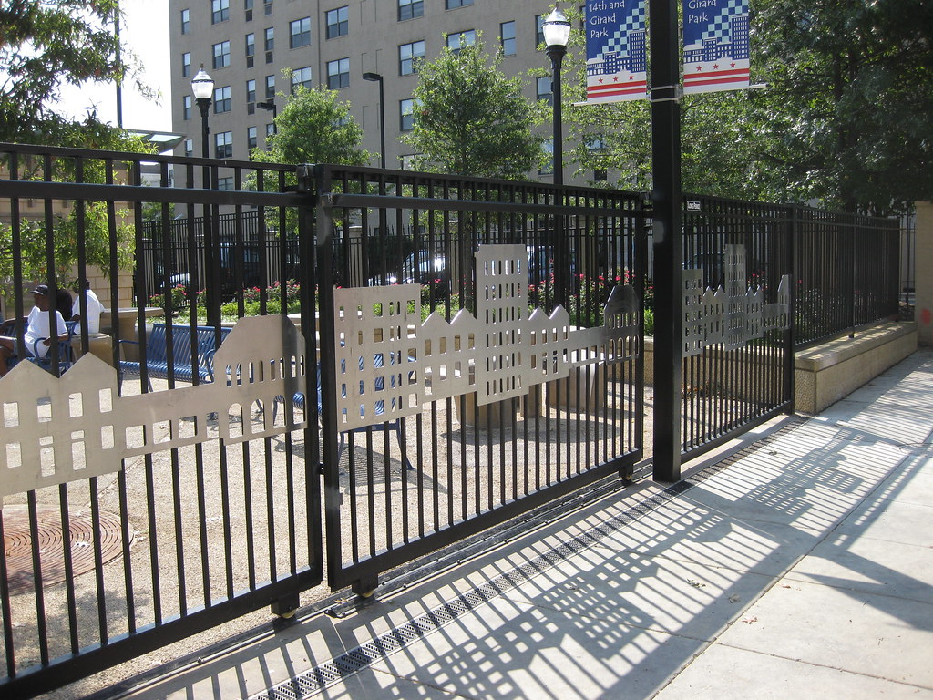 Iron Gates with City Scape