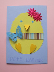 Easter chick (Designs by Katie) Tags: uk feet butterfly easter hearts stars eyes beak diamond chick card workshop sample blogged handcrafted ribbon heroarts demonstrate punched punches happyeaster cardmaking doublesidedtape ll100 cardmakingworkshop designsbykatie 3dfoam dotletteralphabet cutoutchick patternedscissors