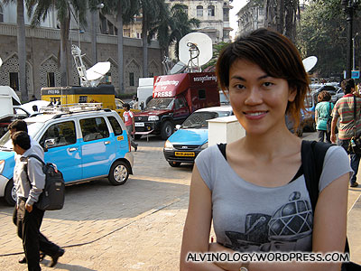 Rachel with dozens of TV satellite vans deployed for the 26/11 report