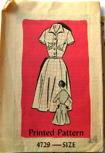 Vintage Mail Order Printed Pattern 4729 Dress
