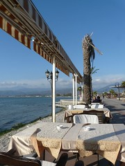 Looking north (janeslondon) Tags: turkey table restaurant march waterfront view north 2010 fethiye gndz carhit