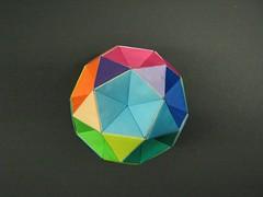 Origami icosidodecahedron (Modular Origami) (Origami Tatsujin 折り紙) Tags: art colors paper paperart origami colorful geometry modular fold multicolored papiroflexia pentagon module papercraft unit papercrafts polyhedra modularorigami おりがみ multidimensional unitorigami 折り紙 geometricbeauty geometricart equilateraltriangle colorfulart origamiomnibus kunihikokasahara icosidodecahedron origamipolyhedra openframeunit analyticalgeometry origamitutorial origamiicosidodecahedron modularorigamiorigami mathematicsorigami origamitechniques modualrorigami futureprofessionalsday2010 equilateraltriangularflatunits flatunit equilateraltriangularflatunit