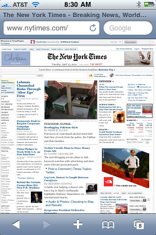 iPhone New York Times en Safari