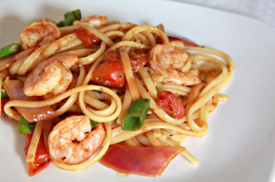 Cherry Tomato Shrimp Linguine 550