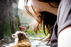 Just Enjoying the Sun (soupatraveler) Tags: woman dog me outside outdoors major brunette sunflare canon40d fountainst soupatraveler