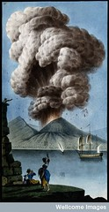Mount Vesuvius emitting a column of smoke after its eruption on 8 August 1779. Coloured etching by Pietro Fabris, 1779.