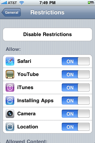 Apple Apps can be restricted on the iPhone / iPod Touch