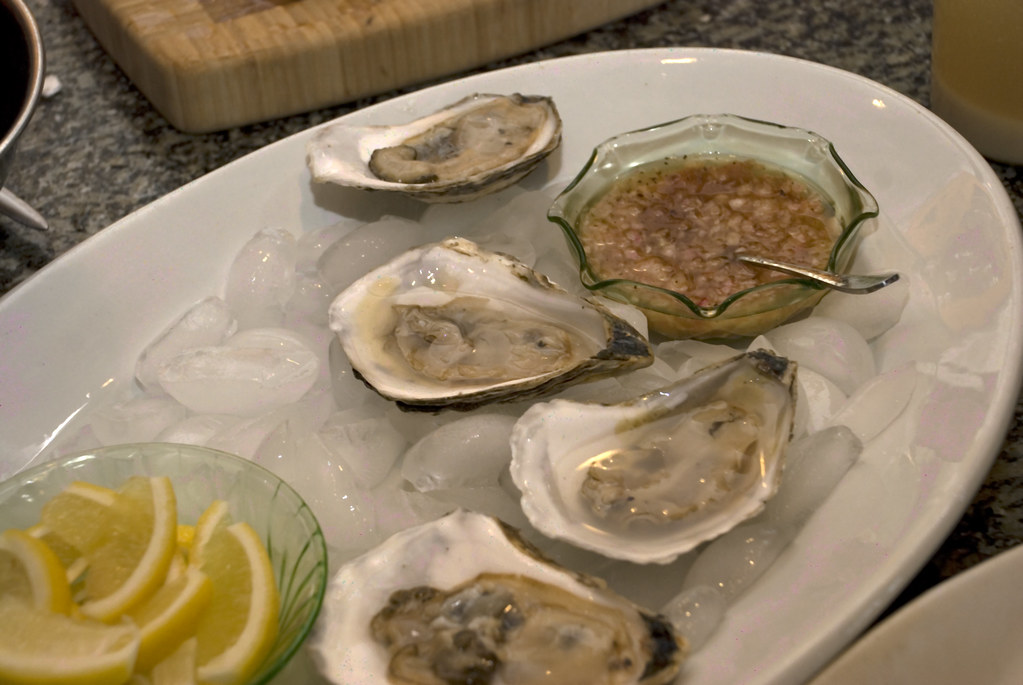 beautiful local oysters and a classic mignonette