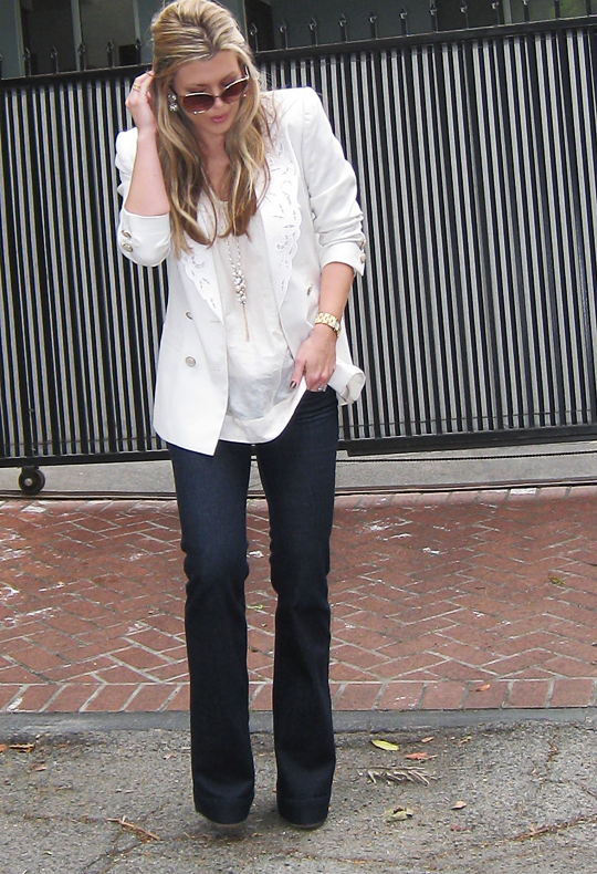 j brand jeans+lovestory+white blazer+louis vuitton bag -4