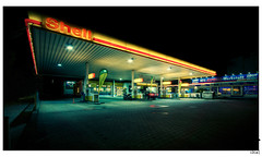 Gas Station #I (Alexander Rentsch) Tags: urban berlin colors architecture night kreuzberg germany deutschland lights colours nacht shell sigma gasstation architektur dri hdr lichter servicestation farben tankstelle fillingstation 10mm sigma1020mmf456exdchsm tempelhoferufer canoneos7d
