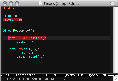 flymake+pep8 for emacs