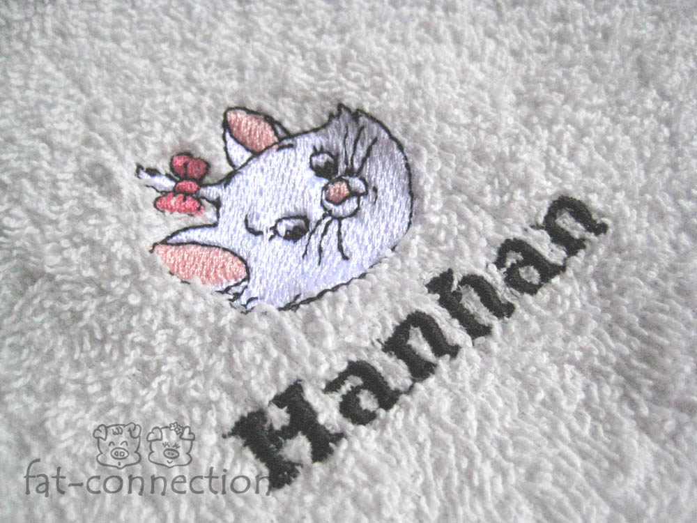 Customised embroidery on towel
