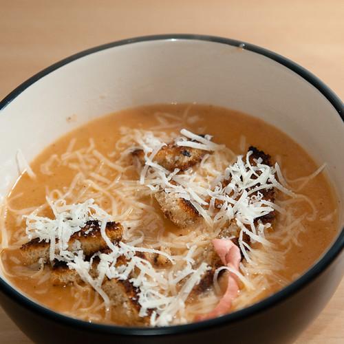 Cauliflower & Tomato Soup with Sourdough Croutons