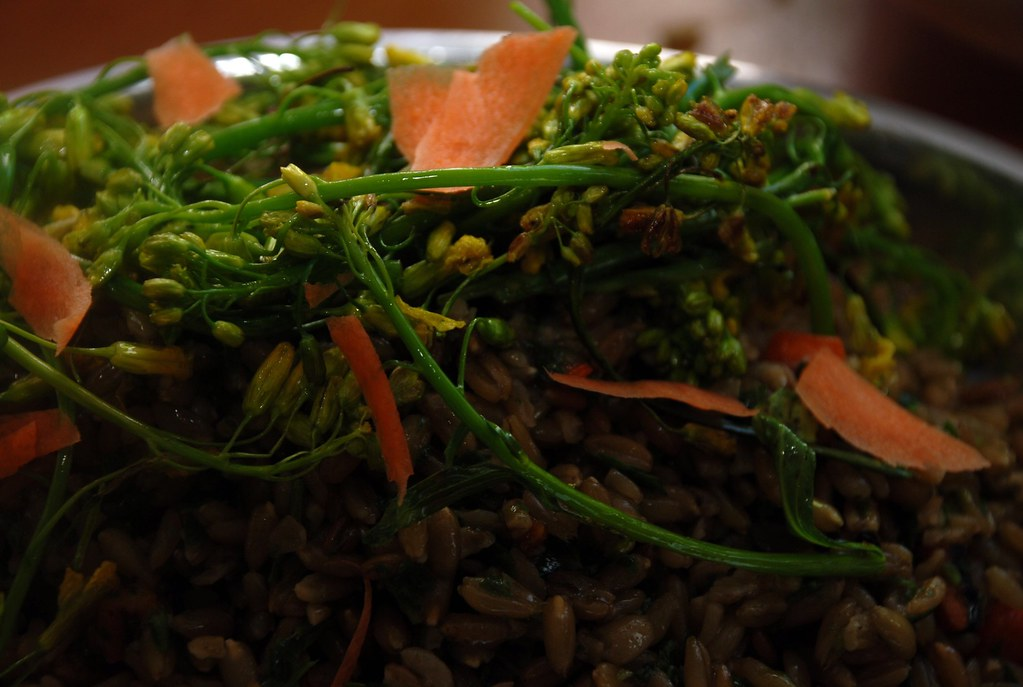 freekeh with flowing broccoli